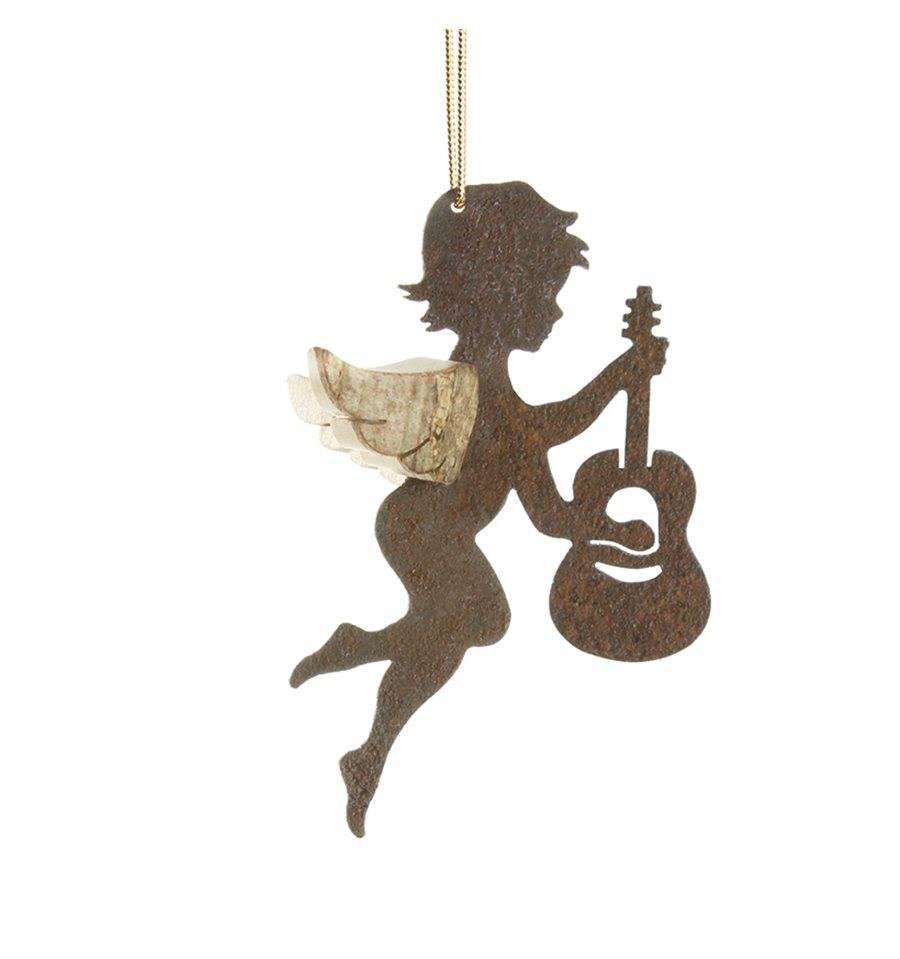Edelrost engel mit rindenfl geln typ 6 mit gitarre for Engel edelrost