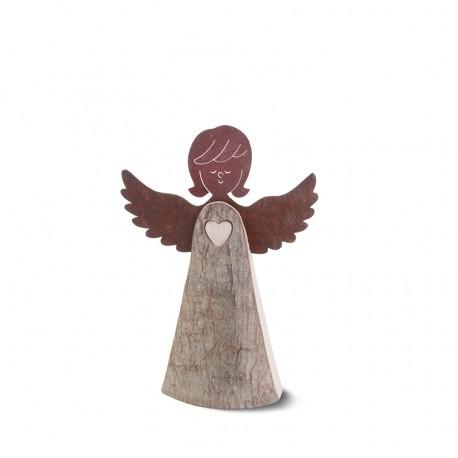 Engelfigur mit Herz und Metallflügeln, Typ 1, Gr. 2 H: 15,5 cm