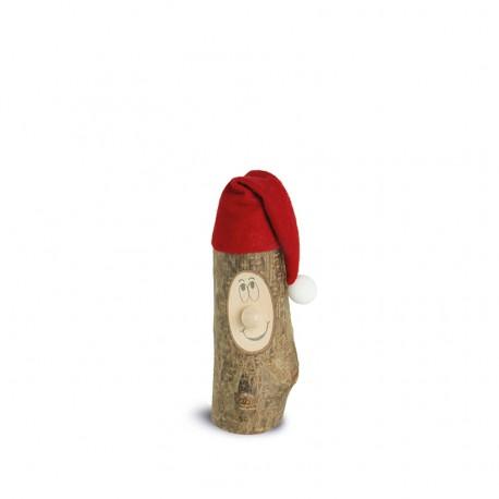 Weihnachtswichtel Gr. 1 mit Filzmütze ca. 5 cm - Holzart Laubholz mit Rinde Natur