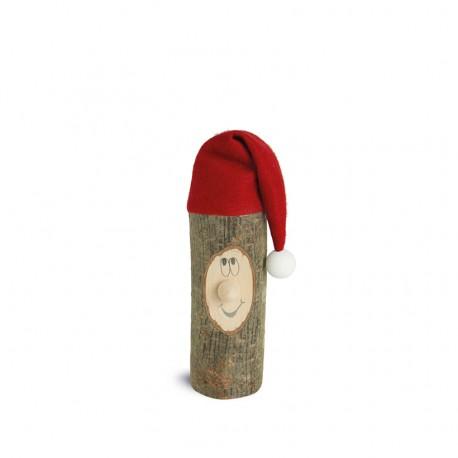 Weihnachtswichtel Gr. 2 mit Filzmütze ca. 6 cm - Holzart Laubholz mit Rinde Natur