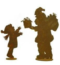 Santa (30 cm) mit Junge (19cm) im Set auf Platte - Set