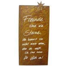 Freunde sind wie Sterne... - Rostige Spruchtafel - Tafel mit 1 Stern