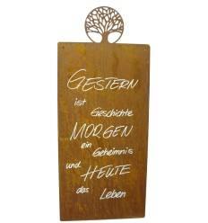 Gestern ist Geschichte, das Morgen ein Geheimnis und Heute das Leben - Rostige Spruchtafel mit Lebensbaum
