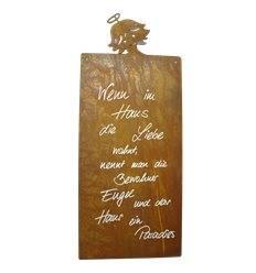 Wenn im Haus die Liebe wohnt Rostschild mit Engel -Babsi- Motiv 50 x 25 cm