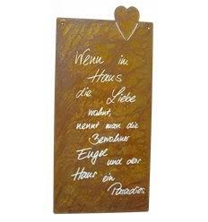 Wenn im Haus die Liebe wohnt Rostschild mit Herzmotiv 50 x 25 cm