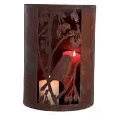 Windlicht 1 Vogel mit Beeren, halbrund, mit Löchern B25cm, H33cm,
