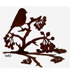 Vogel auf Ast mit Beeren, für Vasen bis d 28cm L 29cm, H 17cm,