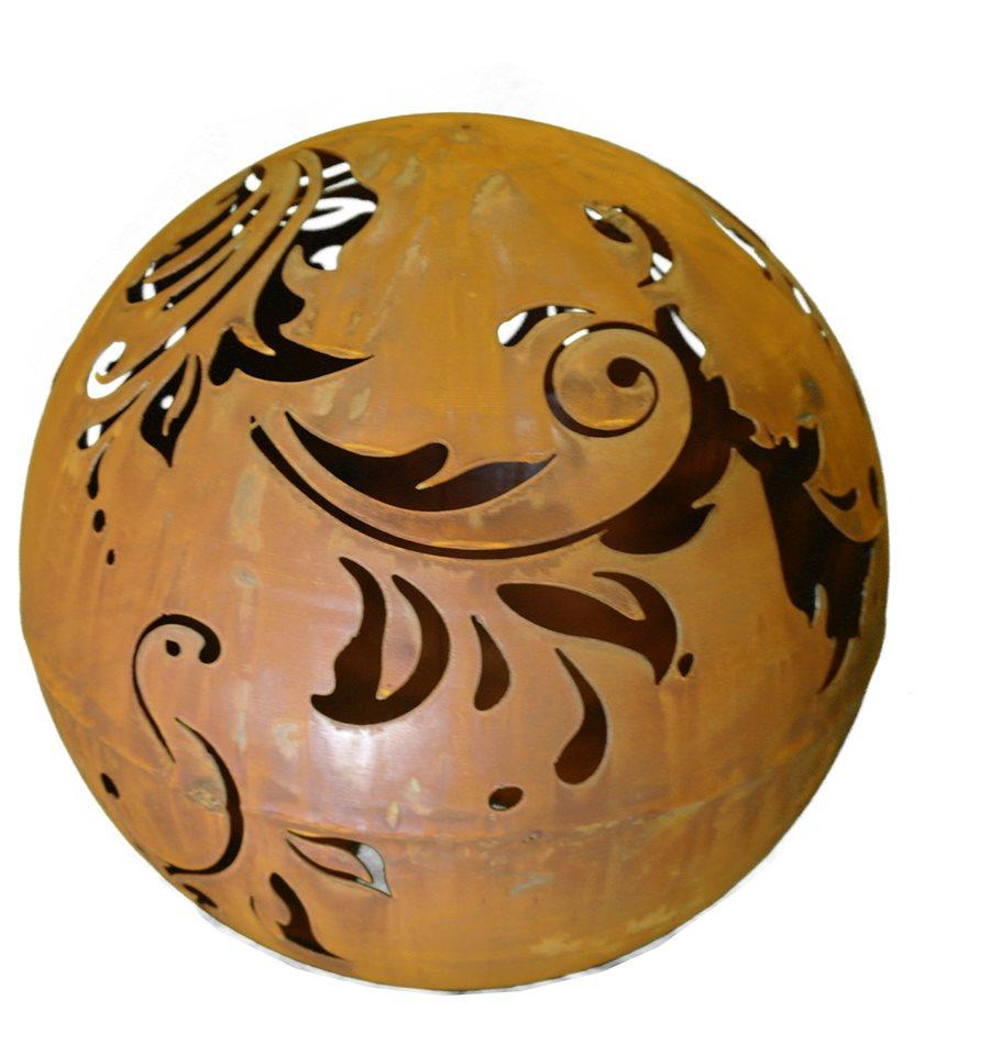 Rost kugel 40cm mit barockmuster u ffnung zum beleuchten for Kugel rost garten
