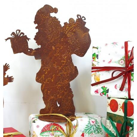 Santa h 30cm auf Platte Edelrost Weihnachtsmann Nikolaus