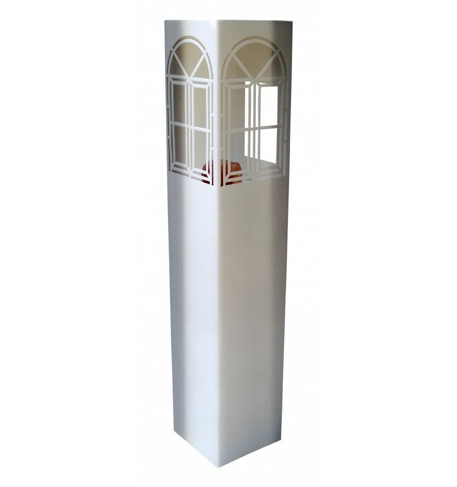 gartendeko edelstahl saule, edelstahl säule mit fenstern und Öffnung für kerze oder beleuchtung, Design ideen