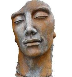 """Steinguss Kunstobjekt: Gesicht """"Mann"""", 115 cm hoch inkl. Platte zur Montage145 kg schwer"""