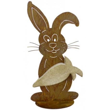 Edelrost Hase - Karotti - aus Fichtenholz auf Bodenplatte