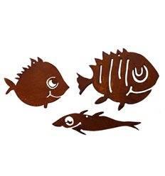 3er Set Deko Fische aus Metall 10 - 13 cm lang