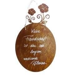 Tafel - Rosenblüte - inkl. Beschriftung: Wahre Freundschaft ist sehr....