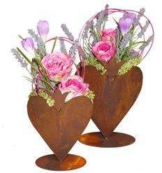 Edelrost - Herz mit Krone zum Bepflanzen auf Bodenplatte klein 25 cm hoch