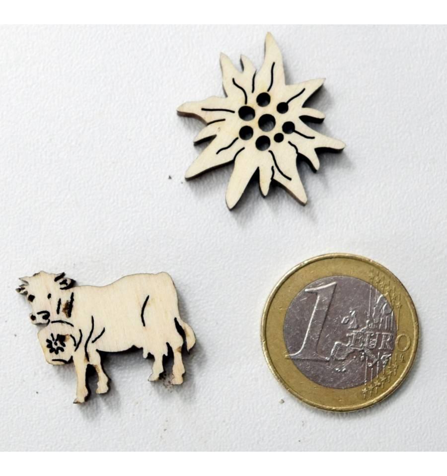 Holz Tischdeko Motiv Edelweiss Und Alpenkuh 20 Gramm Im Beutel