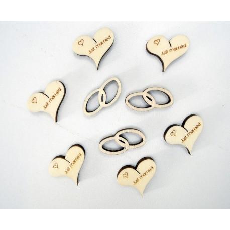 Holz Tischdeko Motiv Just Married- 30 Gramm im Beutel