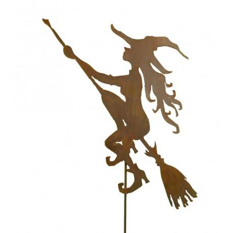 Junge Hexe auf Besen 70 cm hoch mit Stab 120 cm