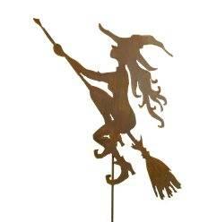 Junge Hexe auf Besen 60 cm hoch mit Stab 100 cm