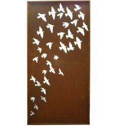"""Sichtschutzwand Vogelschwarm """"Flock of Birds""""2 Meter hoch - Metall Trennwand Garten"""