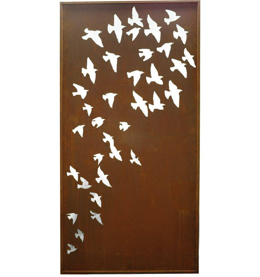 edelrost paravent vogelschwarm flock of birds h200cm b 100cm st be inkl rostdeko vom metallmichl. Black Bedroom Furniture Sets. Home Design Ideas