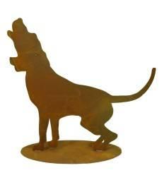 Hund Rusty jaulend auf Platte 63 x 56 cm