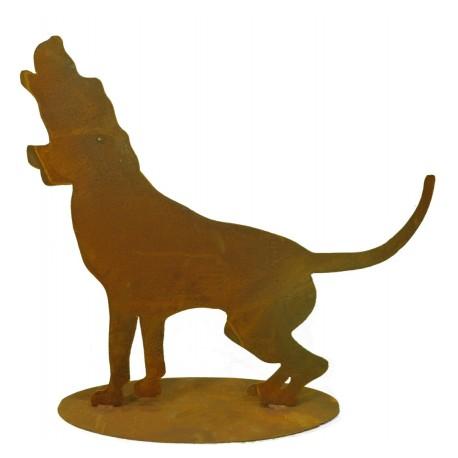 Deko Hund Rusty - heulender Hund auf Edelrost
