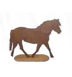 XXL Edelrost-Pferd auf Platte zum Stellen - Höhe 100 cm