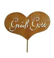 Grüß Gott Gartenstecker - Edelrost Herz zum Stecken mit Schriftzug Grüß Gott