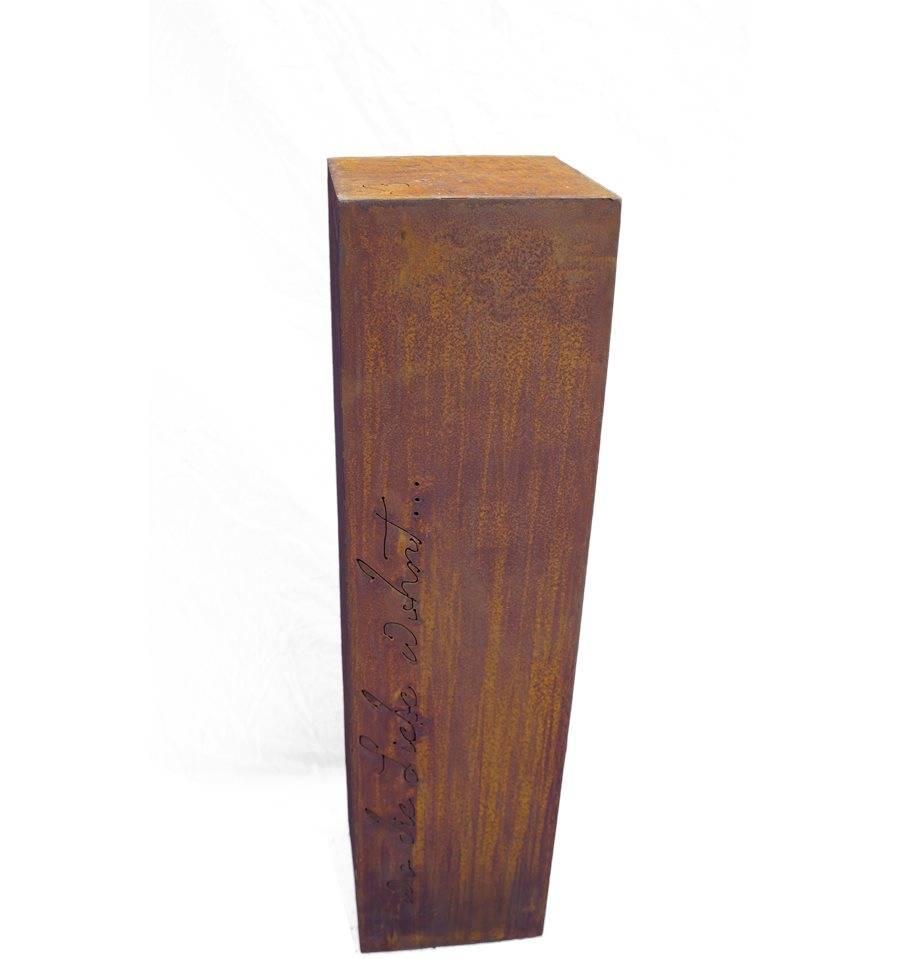 edelrost s ule wo die liebe wohnt 100 cm hoch 26 x 26 cm rostdeko vom metallmichl. Black Bedroom Furniture Sets. Home Design Ideas