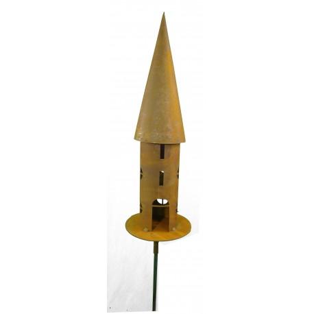 Deko- Vogelhaus rund, schmal H 68 cm, Platte 20 cm, 2tlg Stab 150 cm