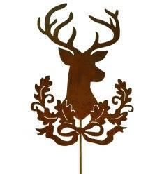 Hirsch mit Eichenverzierung auf Stab 56cm, Stab 120cm