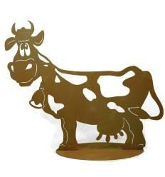 Edelrost Kuh Liselotte 71 cm lang auf Platte