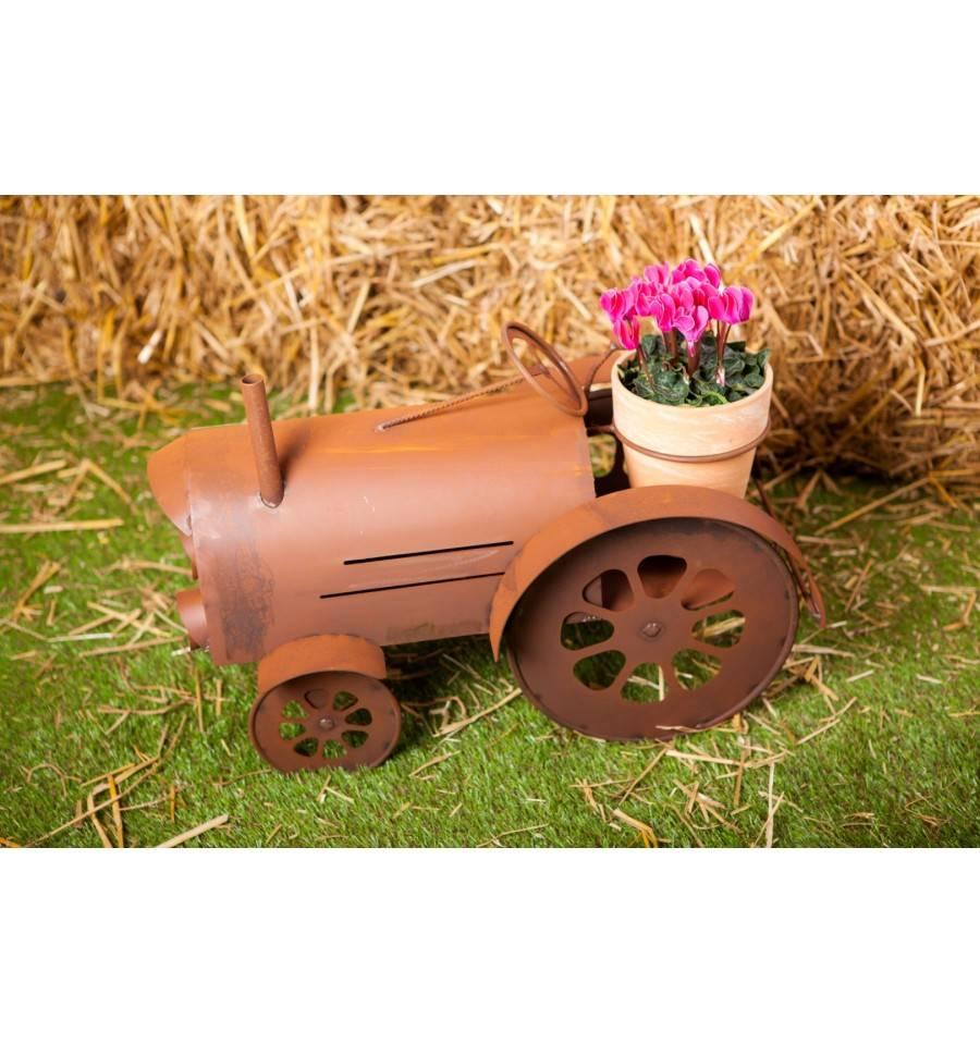 Traktor blumentopf gartendeko rost rostig edelrost for Edelrost gartendeko