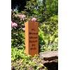"""Rost Säule Gedicht """"Wo Blumen blühen lächelt die Welt"""" 80 cm hoch 24 x 24 cm breit"""