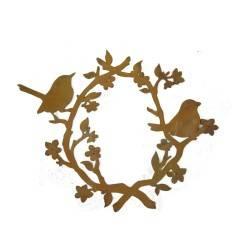 Vögel mit Blütenkranz, ansprechende Rostdeko