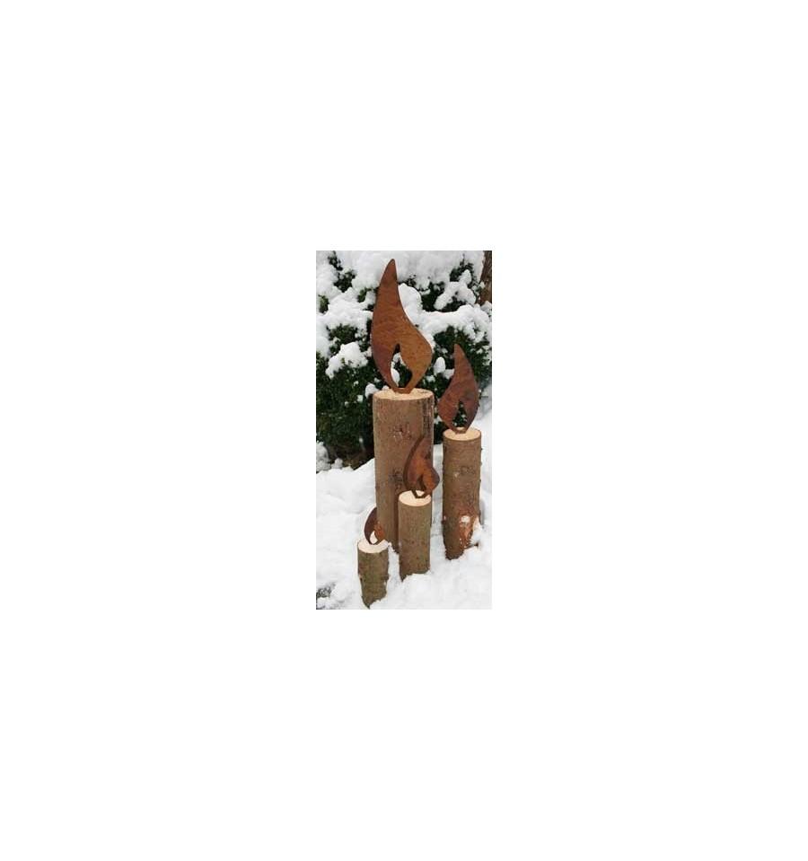 flamme 15 cm hoch rostige flamme kerzen wohndeko weihnachten kaufen. Black Bedroom Furniture Sets. Home Design Ideas