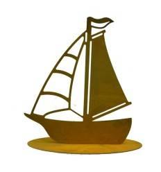 Edelrost Deko Segelboot auf Platte 24 x 27 cm