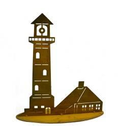 Edelrost Deko Leuchtturm auf Platte