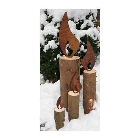 Kerze auf baum 25 cm ohne deko rostige flammenwinter for Deko rost weihnachten