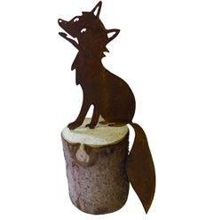 """Edelrost-Figur Fuchs """"Urmel"""" klein, Höhe 15 cm, auf Baumstamm - Gesamthöhe ca. 25 cm"""