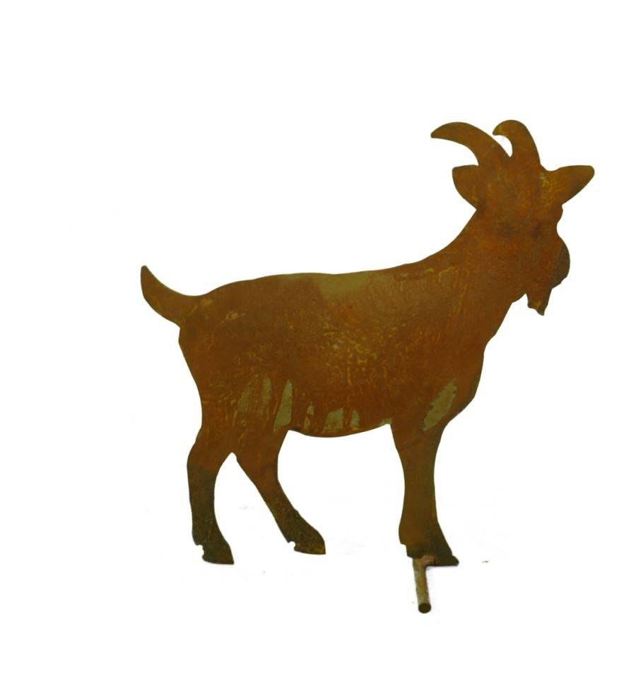 Edelrost bauernhof ziege stehend mittelgro 29 cm hoch for Tiere aus metall gartendeko