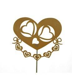 Gartenstecker Hochzeit mit Herzen - Breite 35 cm, Gesamthöhe 130 cm