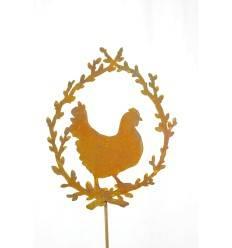 Henne / Huhn im Palmkätzchenkranz auf Stab 60cm