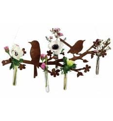 Frühlingsgruß Vögel auf Blütenast mit Anemonenblüten