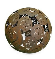 Rosenkugel Ø 40 cm Edelrost Kugel mit Rosenmotiv