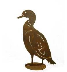 Ente aufrecht stehend, auf Platte