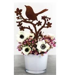 Vögel mit Blüten, auch für Blumenkästen