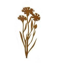 Kornblume 100 cm groß aus 3 mm Stahl, mit kurzem Stab