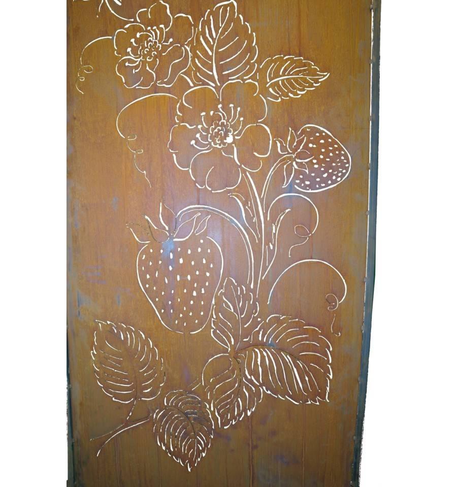 edelrost erdbeerparavent mit umrandung rostig metall garten edelrost. Black Bedroom Furniture Sets. Home Design Ideas